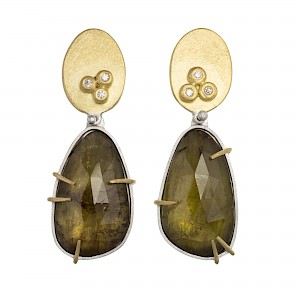E89 Andalusite, diamond, silver and 18ct gold drop earrings