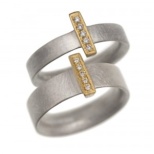 Silver, oxidised silver and gold diamond set 'linea' rings