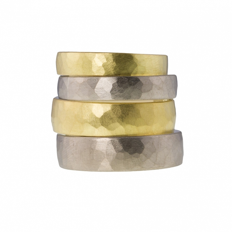 Silver and gold hammered skin rings Photo h_webster-8321.jpg