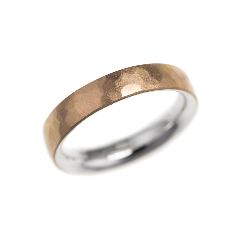 Silver and gold hammered skin rings Photo r185.jpg
