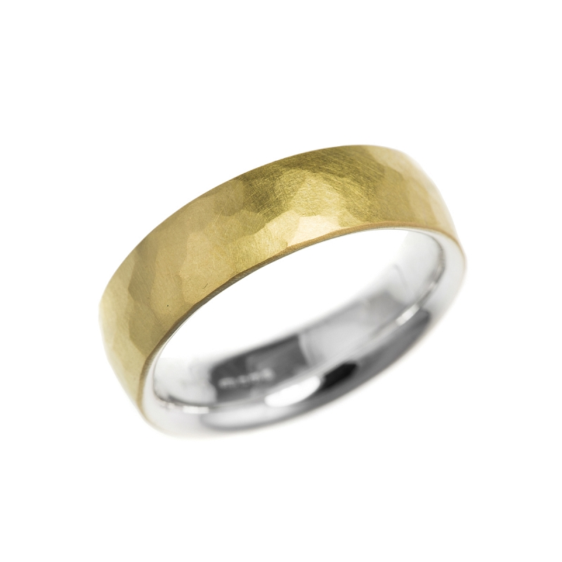 Silver and gold hammered skin rings Photo r198.jpg