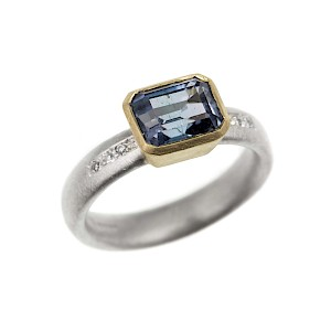R269 Silver and 18ct yellow gold ring with blue tourmaline and diamonds