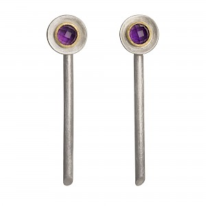 E92 Long drop earrings with Amethyst, silver and 18ct gold