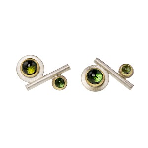 E77 Silver, 18ct yellow gold and green tourmaline ear studs