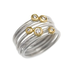 R186 & R187 5 stack of silver, 18ct white & yellow gold and diamond rings