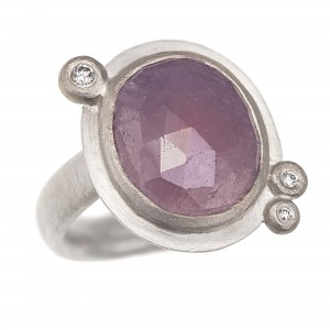 R293 Rose cut purple sapphire, diamond, silver and 18ct W gold ring