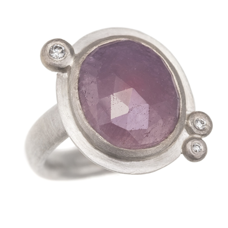 R293 Rose cut purple sapphire, diamond, silver and 18ct W gold ring Photo r293.jpg