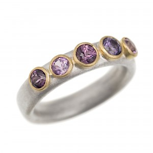 R292 Silver & 18ct Y gold 5 purple spinel ring