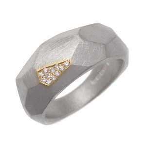 R317 Silver and 18ct Y gold facet ring with diamonds