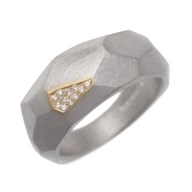 R317 Silver and 18ct Y gold facet ring with diamonds Photo h_webster-5877.jpg