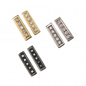 Silver & gold & oxidised wedge ear studs