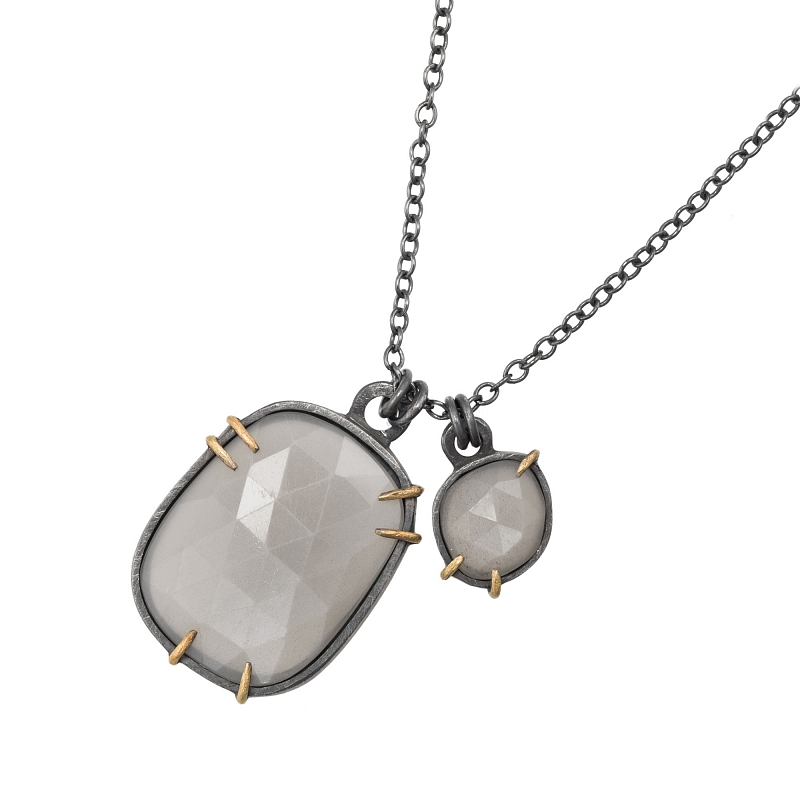 P106 Grey Moonstone , oxidised silver and 18ct Y gold double necklace Photo p106.jpg