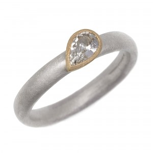 R316 Pear Shaped White Sapphire Silver and Gold Ring