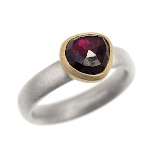 R284 pink rose cut tourmaline, silver and 18ct yellow gold ring