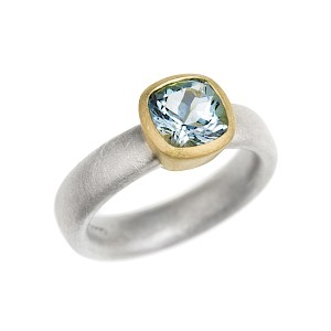 R218 cushion facet aquamarine, silver and 18ct Y gold ring