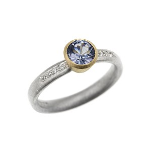 R268 blue spinel, diamond, silver and 18ct yellow gold ring