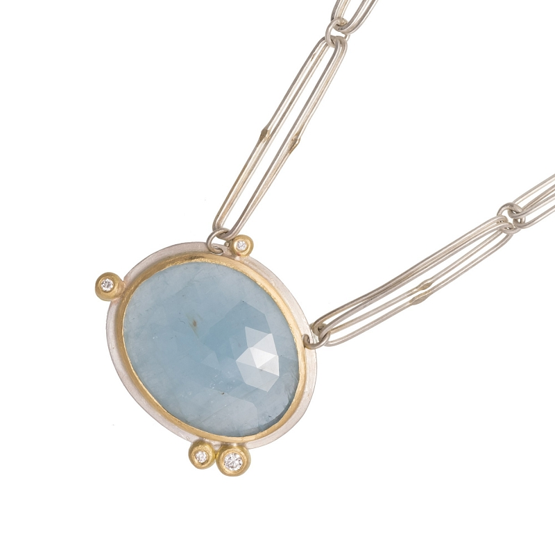 P107 aquamarine, silver, diamond and 18ct yellow gold necklace Photo p107.jpg