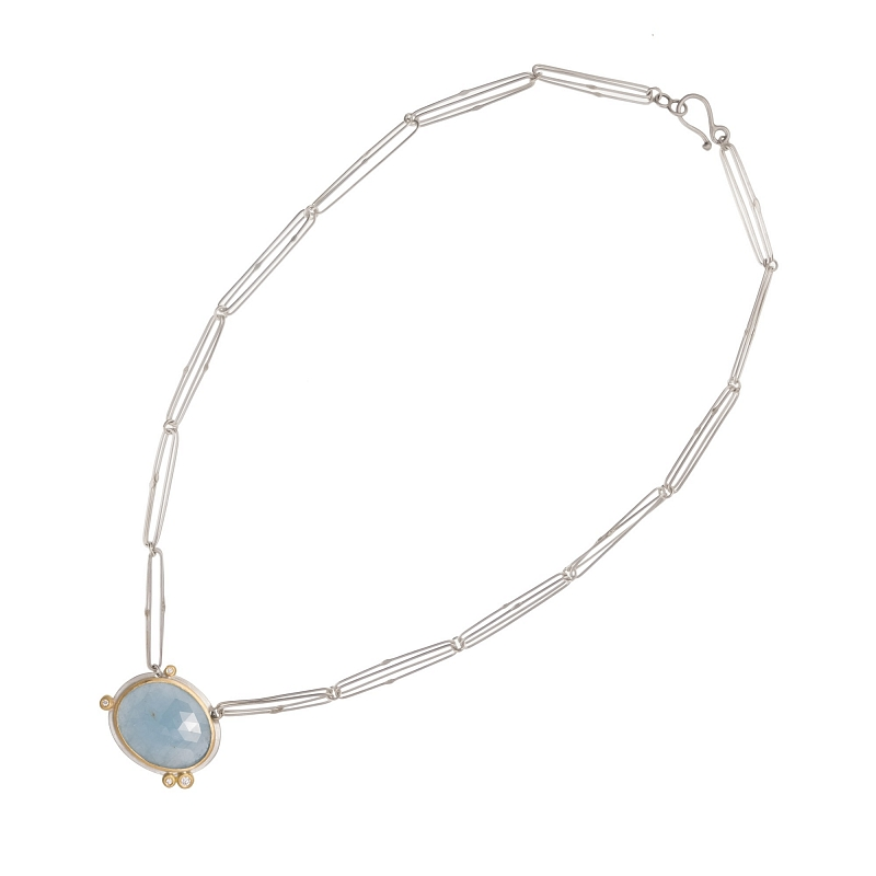P107 aquamarine, silver, diamond and 18ct yellow gold necklace Photo p107a.jpg