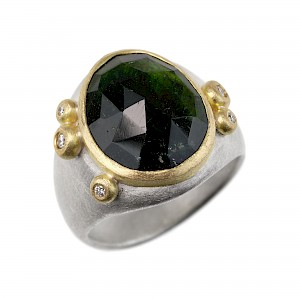 R339 Rose cut green tourmaline, silver and diamond ring