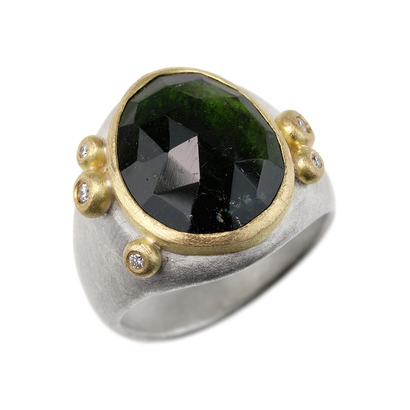 R339 Rose cut green tourmaline, silver and diamond ring Photo r339.jpg