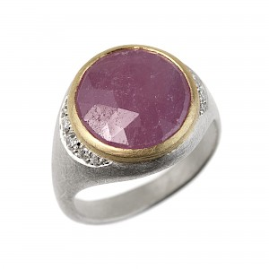 R336 Round rose cut pink sapphire, silver, diamond and 18ct Yellow gold ring