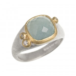 R329 Cushion shape aquamarine, diamond, silver and 18ct yellow gold ring