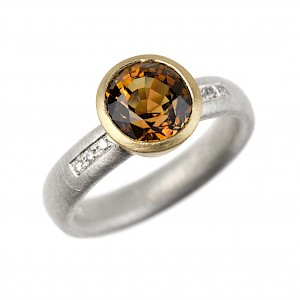 R342 Golden brown tourmaline, diamond, silver and 18ct yellow gold ring
