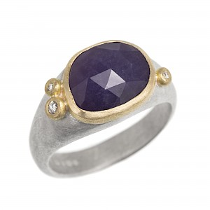 R325 Purple opal, diamond, silver and 18ct yellow gold ring