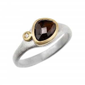 R341 Brown rose cut tourmaline, diamond, silver and 18ct yellow gold ring