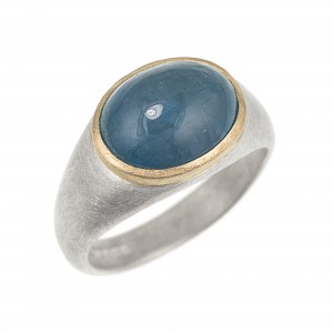 R328 Oval cabochon aquamarine, silver and yellow gold cast ring