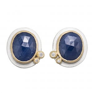E99 Rose cut blue sapphire, diamond, silver and 18ct yellow gold stud earrings