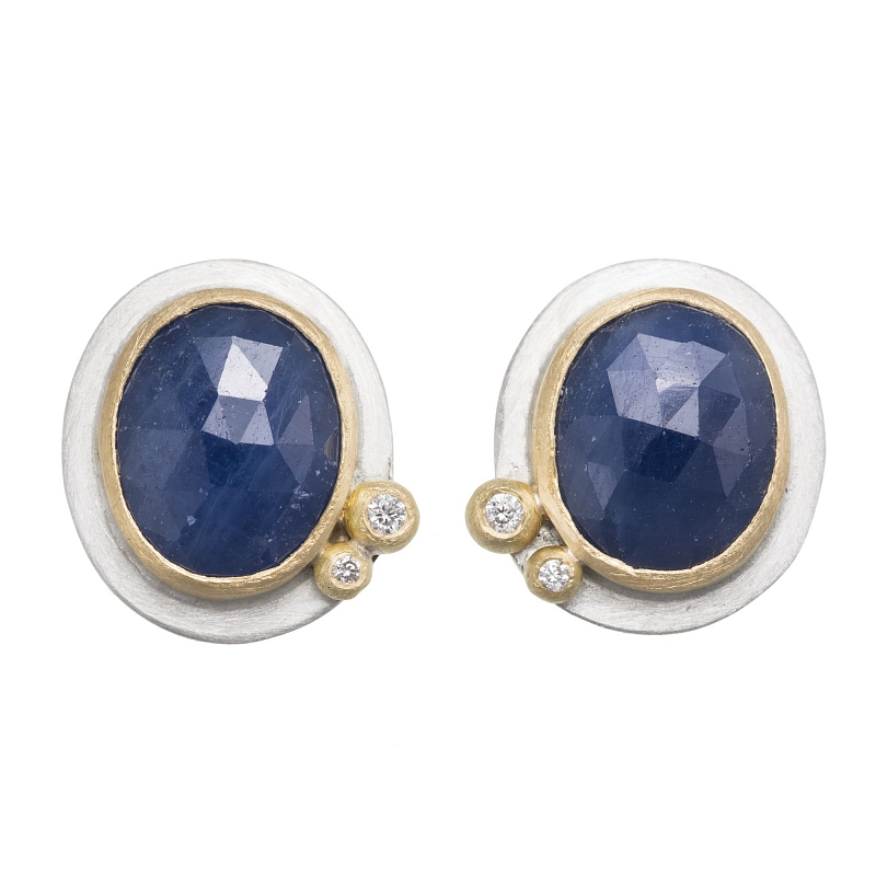 E99 Rose cut blue sapphire, diamond, silver and 18ct yellow gold stud earrings Photo e99.jpg