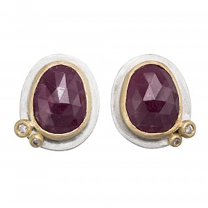 E100 Rose cut ruby, diamond, silver and 18ct yellow gold ear studs