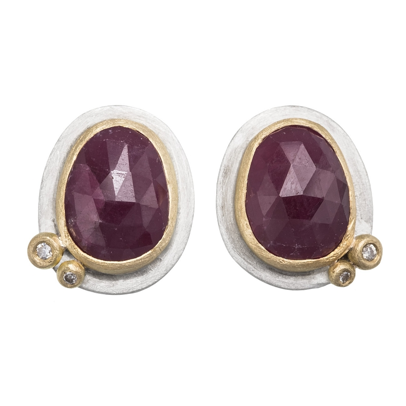E100 Rose cut ruby, diamond, silver and 18ct yellow gold ear studs Photo e100.jpg