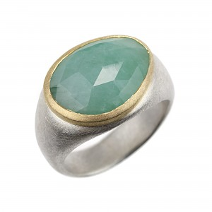 R340 Rose cut Emerald , silver and 18ct yellow gold ring