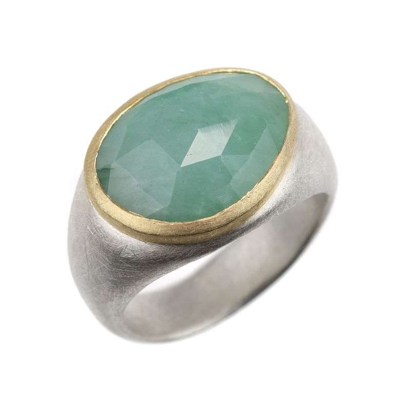 R340 Rose cut Emerald , silver and 18ct yellow gold ring Photo r340.jpg