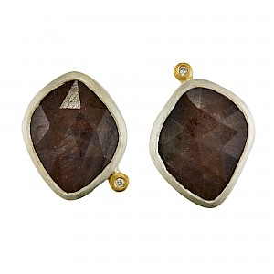 E110 Brown sapphire silver and diamond ear studs