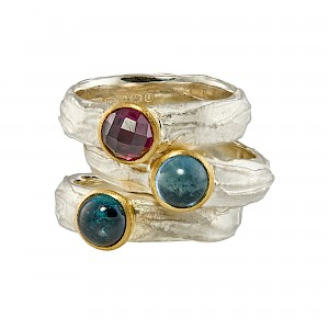 R372, R373, R374 Stone set textured rings