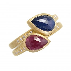 R347 & R348 pear shape rose cut Ruby and sapphire rings
