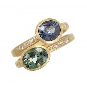R344 & R343 gold rings with tourmaline and spinel