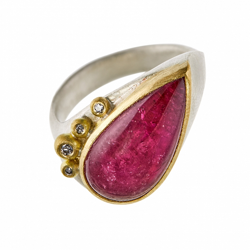 R357 pear shape Pink Tourmaline, silver and diamond ring Photo r357.jpg