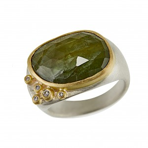R360 Green sapphire one off ring